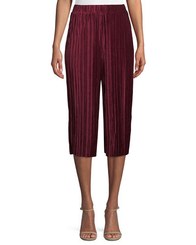 Pleated Velvet Goucho Pants