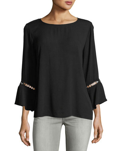 Bell-Sleeve Blouse w/ Hardware Detail