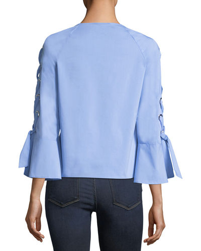 Tie-Sleeve Stretch-Cotton Blouse