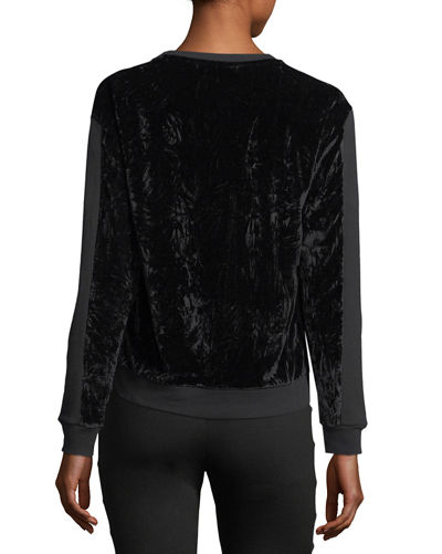 Crushed Velvet Paneled Sweatshirt