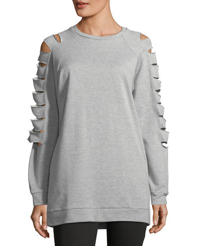 Ladder-Cutout Sweatshirt Tunic