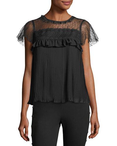 Mesh-Neck Flutter-Sleeve Blouse