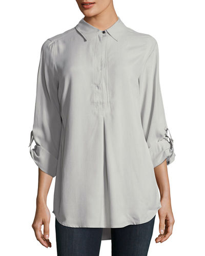 Tina Silk Broadcloth Roll-Sleeve Shirt