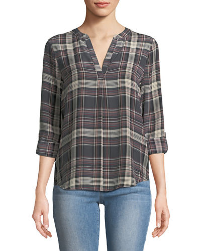 Coralle Plaid Crepe Top