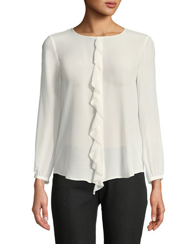 Nevara Long-Sleeve Blouse with Ruffle
