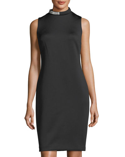 Scuba Coil-Necklace Sheath Dress
