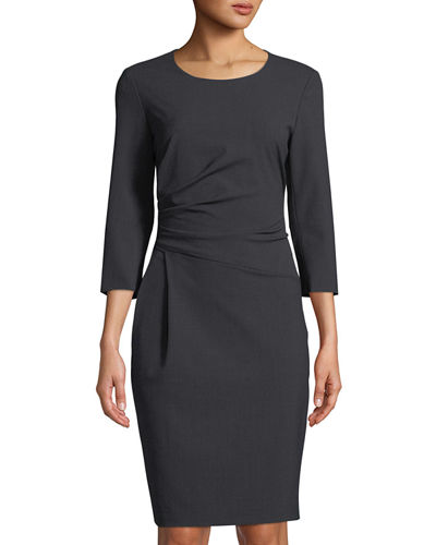 Ruched 3/4-Sleeve Sheath Dress