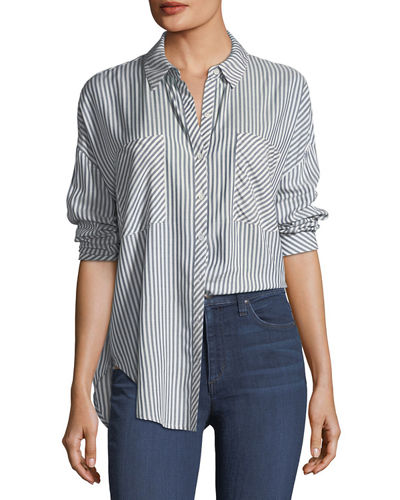 Oversized Striped Button-Down Top