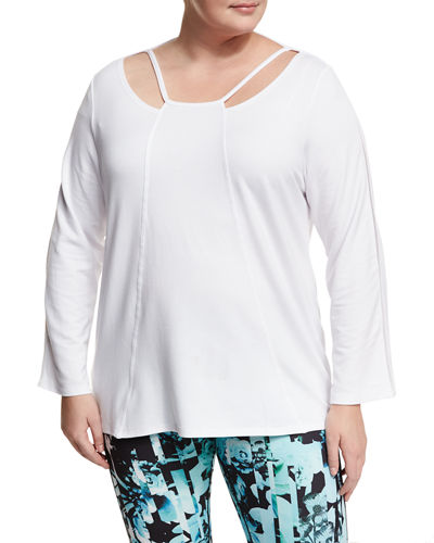 Long-Sleeve Cutout Pullover Sweater, Plus Size