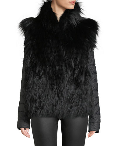 Horizontal-Layered Fox Fur Vest