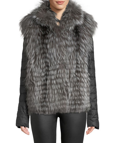 Layered Silver Fox Fur Jacket w/ Detachable Sleeves