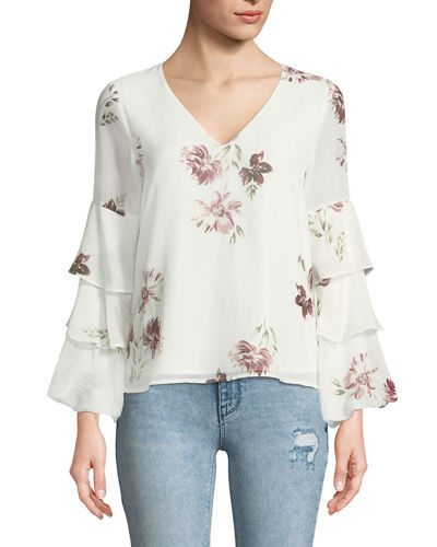 Micha Printed Tier-Sleeve Blouse