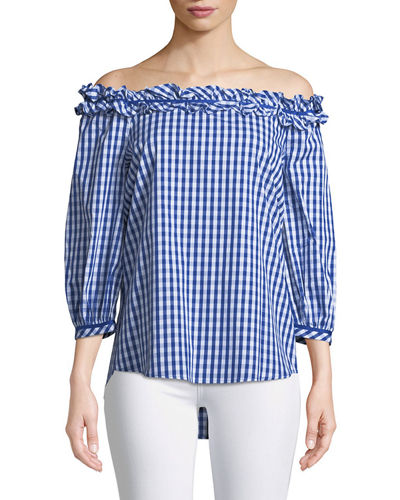 Off-The-Shoulder Gingham Blouse