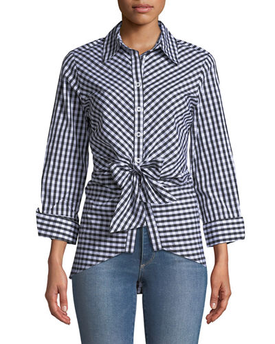 Gingham Tie-Front Blouse