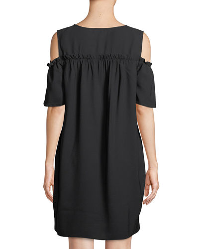 Smocked Cold-Shoulder Shift Dress