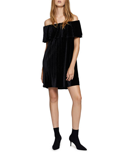 Zodiac Velvet Off-The-Shoulder Dress