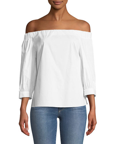 Laundry By Shelli Segal Off-The-Shoulder Three-Quarter Sleeve