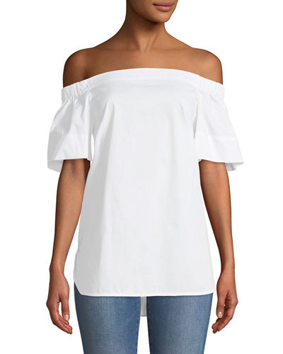 Off-The-Shoulder Flutter-Sleeve Tunic