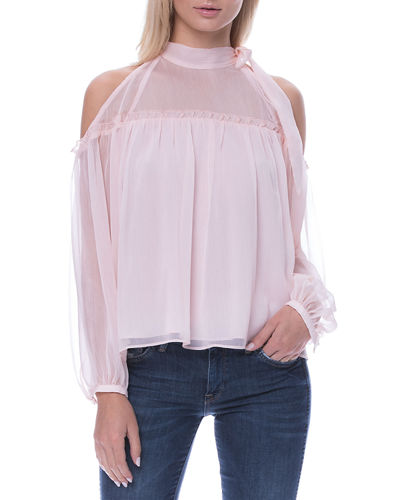 Tie-Neck Cold-Shoulder Blouse