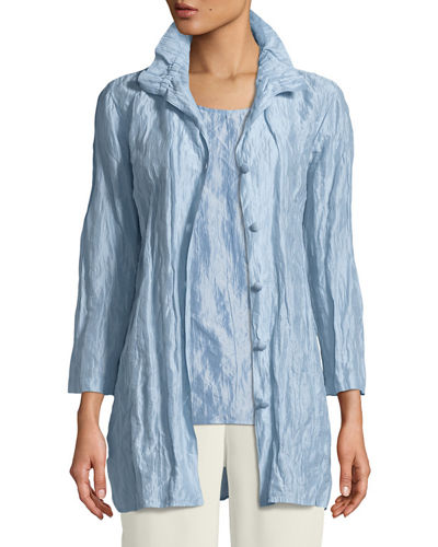 Caroline Rose Ruched-Collar Crinkled Jacket , Petite
