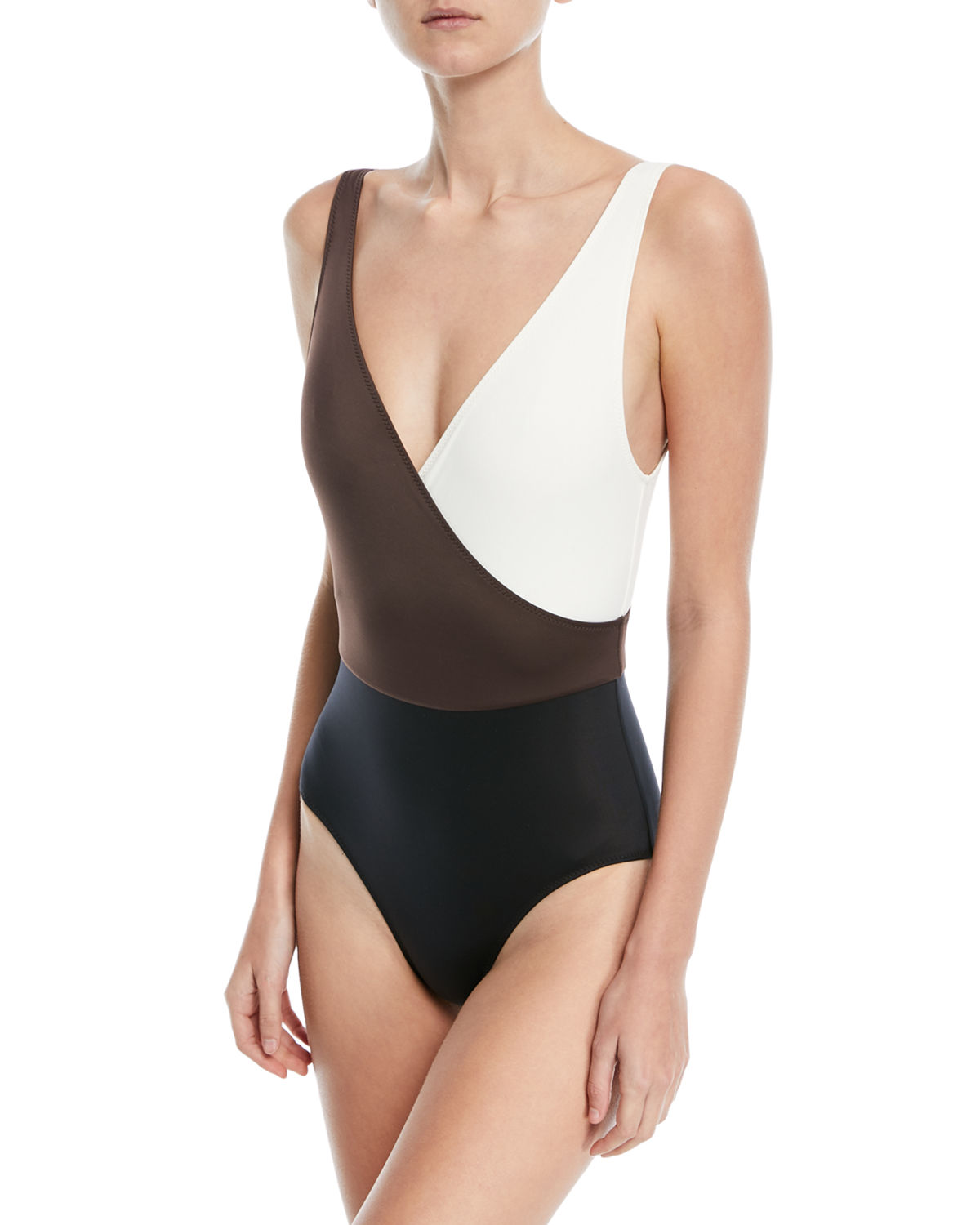 Solid & Striped Beachwear THE BALLERINA COLORBLOCKED ONE-PIECE SWIMSUIT