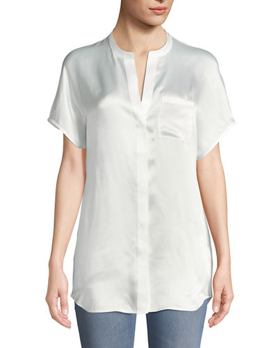 Short-Sleeve Charmeuse Popover Blouse