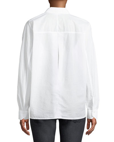 Relaxed Cotton Button-Front Shirt