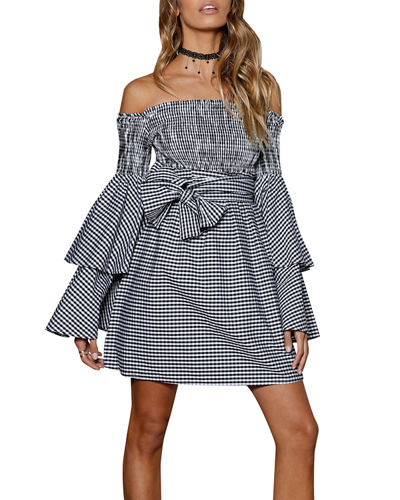 Disco Fever Off-The-Shoulder Dress