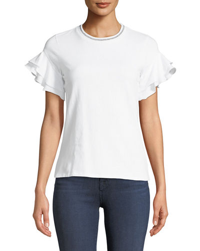 Metallic-Neck Ruffle-Sleeve Tee
