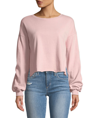 Cropped Balloon-Sleeve Sweatshirt