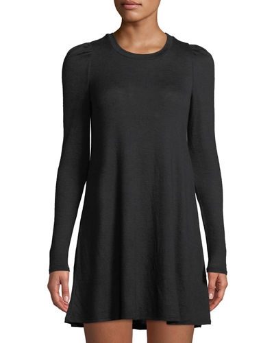 Caterpillar-Sleeve A-line Knit Dress