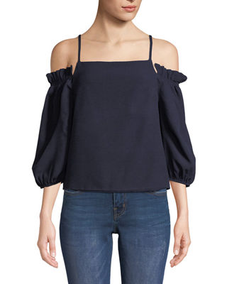 SOUL HARMONY ENERGY Smocked Off-The-Shoulder Blouse in Navy