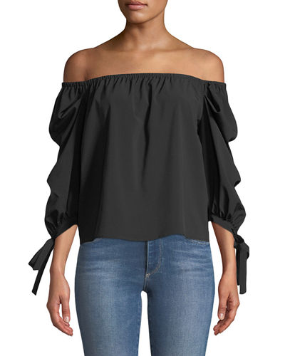 Off-The-Shoulder Tie-Cuff Blouse