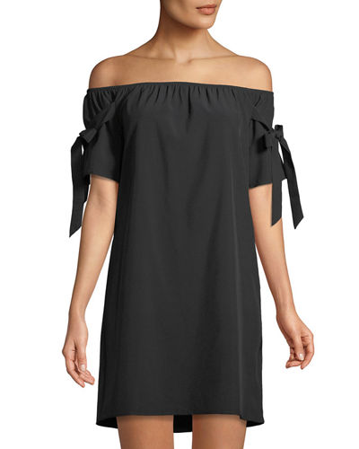 Tie-Sleeve Off-The-Shoulder Shift Dress