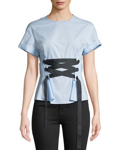 Corset-Tied Short-Sleeve Blouse