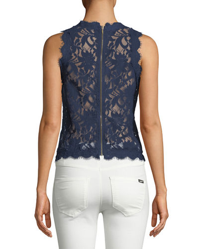 Sleeveless Frayed-Lace Blouse