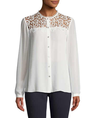 Lace-Yoke Button-Down Blouse