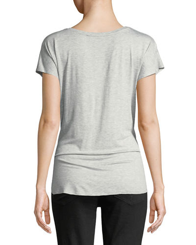 Laced-Side Short-Sleeve V-Neck Tee