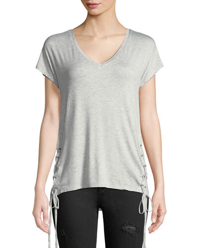 Dex Laced-Side Short-Sleeve V-Neck Tee