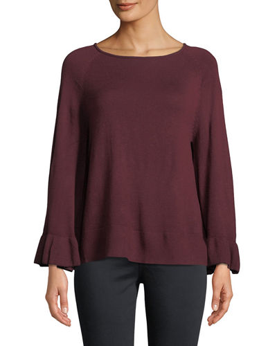 Chelsea & Theodore Ruffle-Sleeve Pullover Sweater