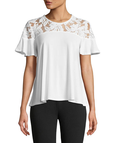 Lace-Shoulder Short-Sleeve Tee