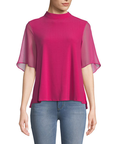 Mock-Neck Flutter Sleeve Blouse