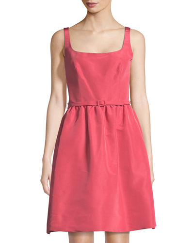 Belted Fit & Flare Silk Dress