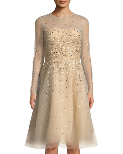 Long-Sleeve Sequined Mesh A-line Dress