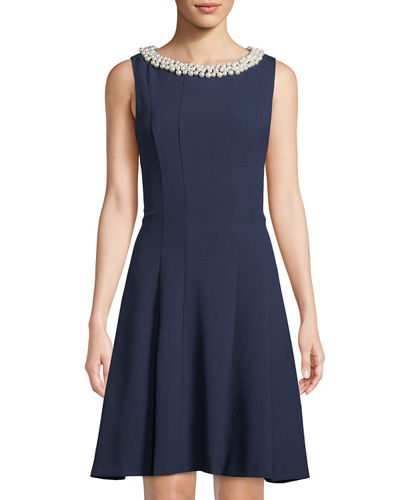 Karl Lagerfeld Paris Fit & Flare Necklace Dress