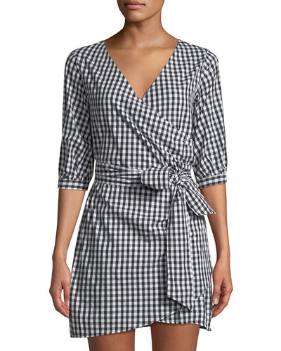 Faux-Wrap Gingham Menswear Shirtdress