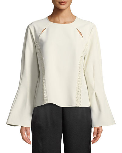 Flare-Sleeve Crepe Blouse