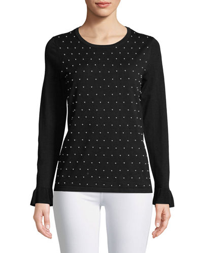 Pearly-Studded Long-Sleeve Sweater