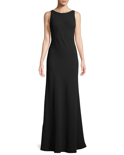 Sleeveless Drape-Back Trumpet Gown