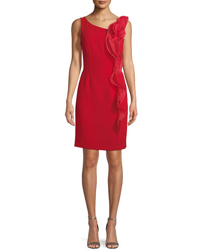 Ruffle-Front Cocktail Sheath Dress
